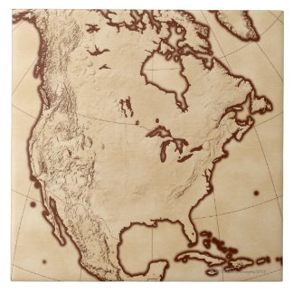 Map of North America 2 Large Square Tile