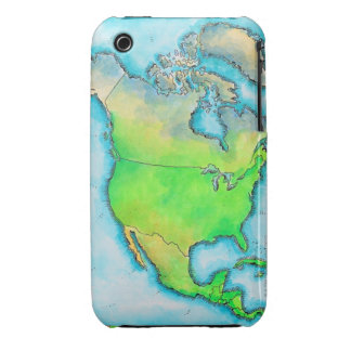 Map of North America 3 iPhone 3 Case-Mate Cases