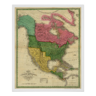 Map of North America by D.H. Vance 1826 Poster