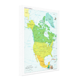 Map of North-America Canvas Print