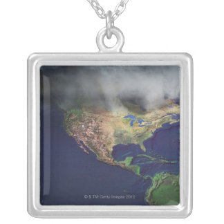Map of North America with fog Silver Plated Necklace