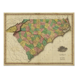 Map of North and South Carolina Poster