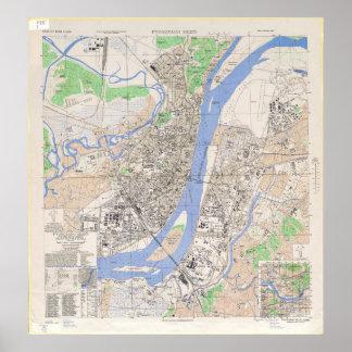 Map of North Korean City of Pyongyang in 1946 Poster