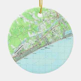 Map of North Myrtle Beach South Carolina (1990) Ceramic Ornament