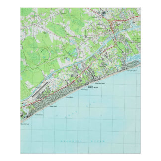 Map of North Myrtle Beach South Carolina (1990) Poster