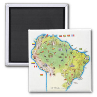 Map of Northern South America Square Magnet