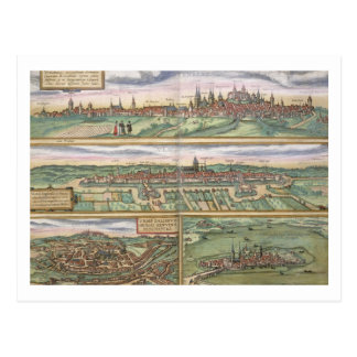 Map of Nuremberg, Ulm, and Saltzburg, from 'Civita Postcard