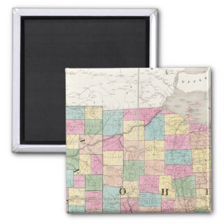 Map of Ohio And Indiana Square Magnet