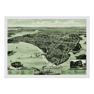 Map of Onset Bay Grove in Wareham, MA from 1885 Poster