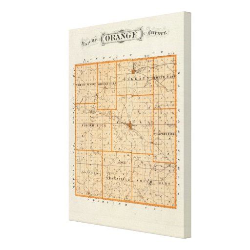 Map of Orange County Gallery Wrapped Canvas