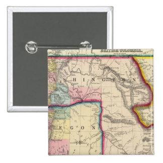 Map Of Oregon, Washington 15 Cm Square Badge