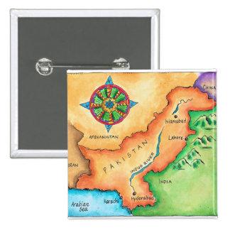 Map of Pakistan 15 Cm Square Badge