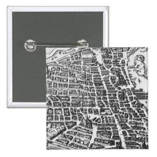 Map of Paris, 1620 15 Cm Square Badge