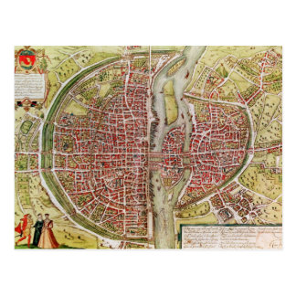 Map of Paris from 'Civitates orbis terrarrum' Postcard