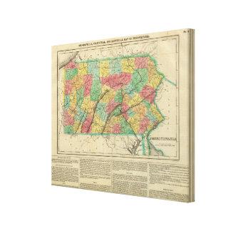 Map Of Pennsylvania Canvas Prints