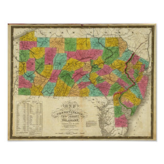 Map of Pennsylvania, New Jersey, and Delaware Poster