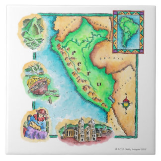 Map of Peru Ceramic Tile