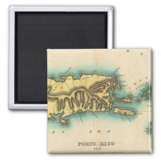 Map Of Porto Rico And The Virgin Islands Magnet