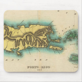 Map Of Porto Rico And The Virgin Islands Mousepads