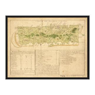 Map of Porto Rico circa 1760 (Puerto Rico) Canvas Print