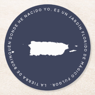 Map of Puerto Rico Borinquena Round Paper Coaster