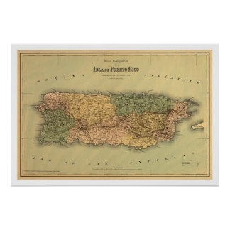 Map of Puerto Rico by Colton 1886 Poster