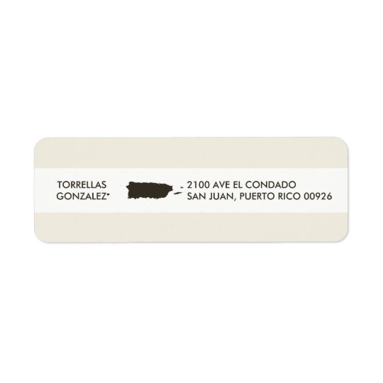 Map of Puerto Rico: Personalised Design Return Address Label