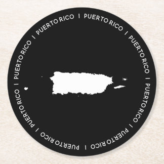 Map of Puerto Rico Round Paper Coaster