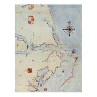 Map of Raleigh's Virginia Postcard