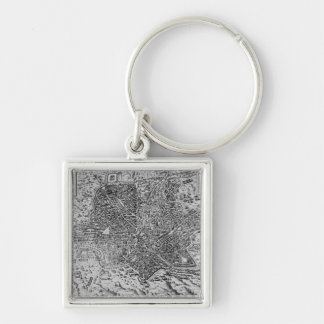 Map of Rome, 1579 Silver-Colored Square Key Ring