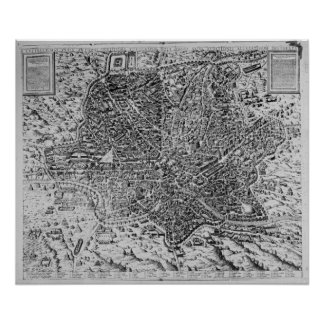 Map of Rome, 1579 Poster