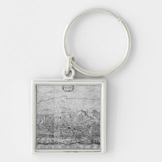 Map of Rome Silver-Colored Square Key Ring