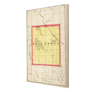 Map of Roscommon County, Michigan Canvas Prints