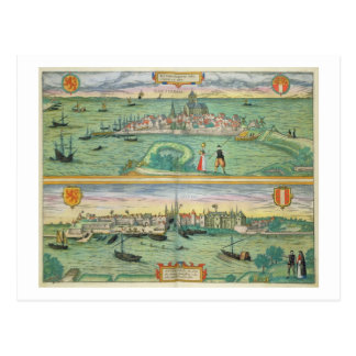 Map of Rotterdam and Gouda, from 'Civitates Orbis Postcard