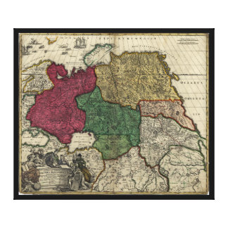 Map of Russia (1704) Canvas Print