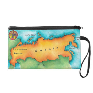Map of Russia Wristlet Purse