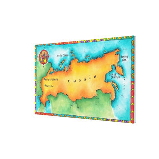 Map of Russia Canvas Print