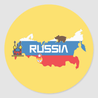 Map of Russia with White Blue and Red Flag within Classic Round Sticker
