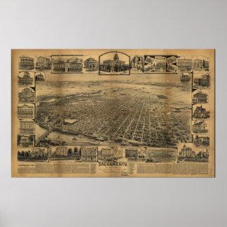 Map of Sacramento, Birds-Eye View, 1890 Poster