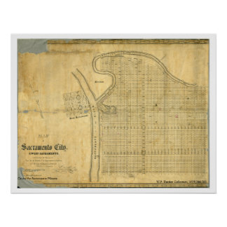 Map of Sacramento City & West Sacramento, 1850 Poster