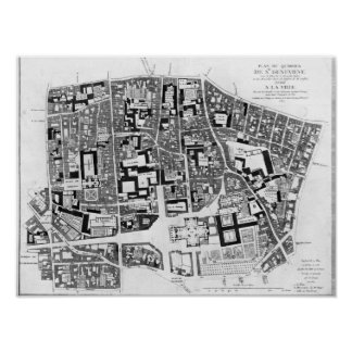 Map of Sainte-Genevieve area, Paris, 1756 Poster