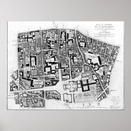 Map of Sainte-Genevieve area, Paris, 1756 Posters