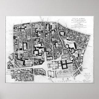 Map of Sainte-Genevieve area Paris 1756 Posters
