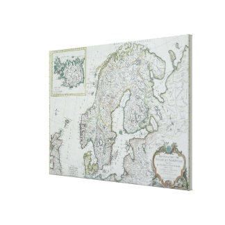 Map of Scandinavia Gallery Wrap Canvas