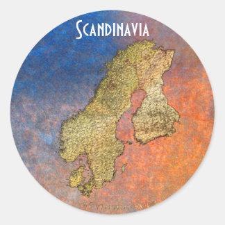 Map of Scandinavia Cartography Classic Round Sticker