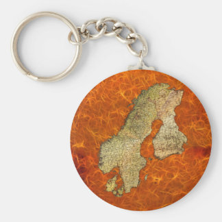 Map of SCANDINAVIA Travel Collection Basic Round Button Key Ring