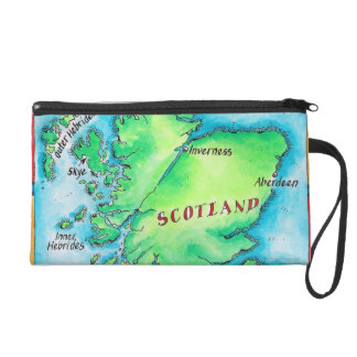 Map of Scotland Wristlet Purses