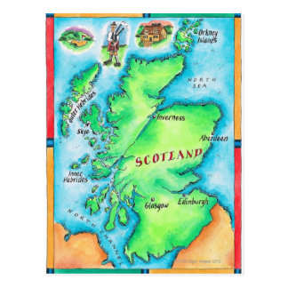 Map of Scotland Postcard
