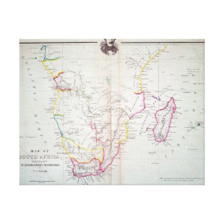 Map of South Africa illustrating Canvas Prints