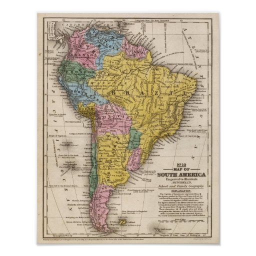 Map of South America 5 Print